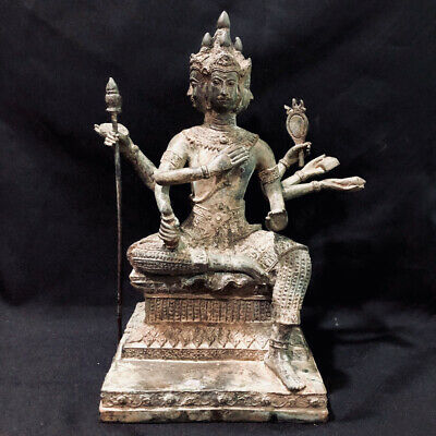 Collectible Khmer Shiva God Buddha Statue Bronze 4 Faces 8 Arms Angkor Wat Rare