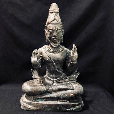 Khmer Buddha Statue Bronze Cambodia Bayon God Sculpture Asia Buddhism Collection