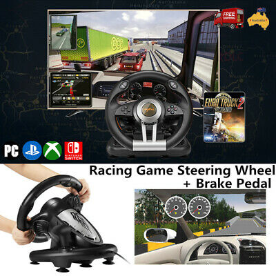 Racing Game Steering Wheel PXN-V3II W/Brake Pedal For PC Xbox One Switch PS3 PS4