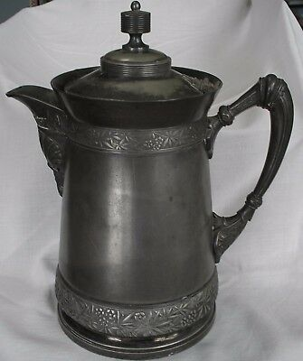 Antique MERIDEN Silver Plate, Porcelain Lined Hot, Cold Serving Pitcher PAT 1868