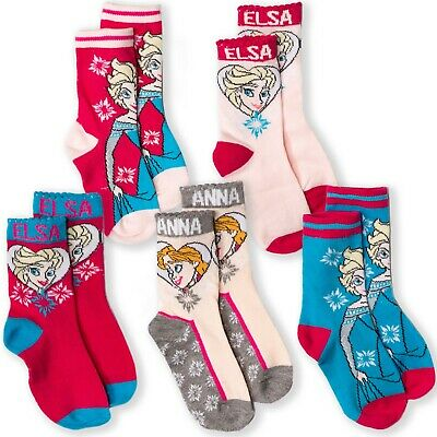 Disney Frozen Elsa 5-Pack Set Girls Toddlers Character Cartoon Crew Socks Cotton