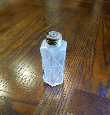 Antique Vintage Glass Talcum Powder Dresser Shaker Jar Bottle 1930-40's Talc