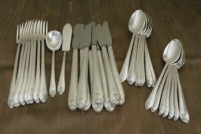 EXQUISITE Wm Rogers & Son silverplate 34pc FLATWARE SET for 8 mono R