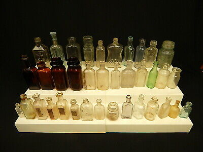 Lot Of 37 Antique Bottles Medicine Apothecary Poison Paper Label Victorian Tonic