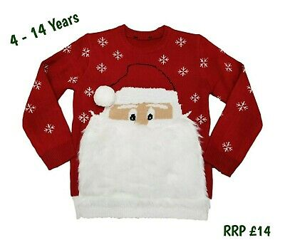 Kids Boys Girls Novelty Christmas Xmas Jumper Santa Father Knit Sweater Red Gift