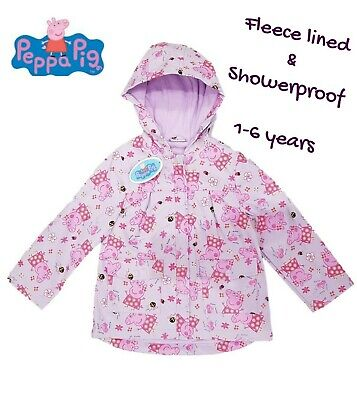 Girls Peppa Pig Coat Fleece Lined Jacket Raincoat Hooded Anorak Showerproof
