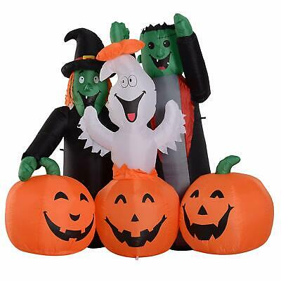 HOMCOM 5' LED Outdoor Halloween Inflatable Decoration - Monster Pumpkin Party