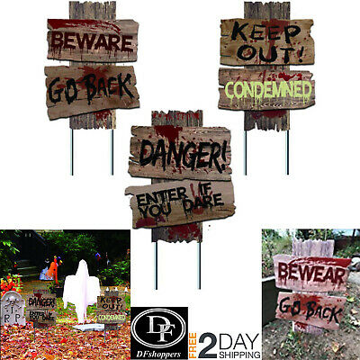 Halloween 3Yard Signs Decorations Stakes Outdoor Beware Props Decor Scary creepy