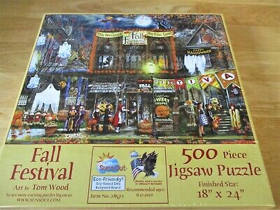 "Suns Out Brand 500 Piece Jigsaw Tom Wood Art PUZZLE ""Fall Festival""- New 18""x24"""
