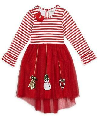 NEW Rare Editions Girls RED STRIPE SPARKLE MESH ORNAMENT Size 8 Christmas Dress