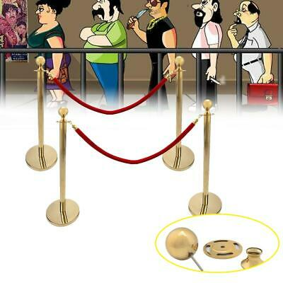 4Pcs Stanchion Posts w/ 2pc Rope Queue Pole Crowd Control Barrier Theater Hotel
