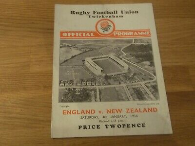 1936 England V New Zealand Rugby Union Official Match Programme At Twickenham