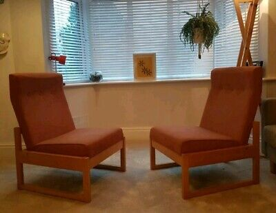 Pair Of Vintage Retro Mid Century Solid Teak Easy Chairs 1960s 1950s Armchairs