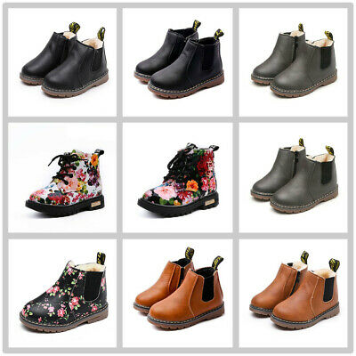 Kids Boys Girls Winter Warm Floral Fur Lined Shoes Ankle Boots Chelsea Shoes UK