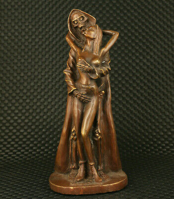 Big rare old bronze Handcarved art love figure statue collectible decoration