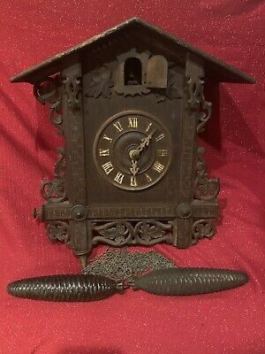Lg.Antique Gate House Black Forest Cuckoo Clock German Germany Project