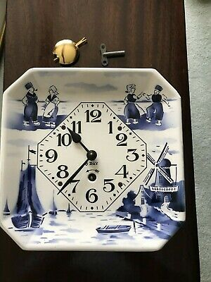 Delft Clock, German, Excellent running condition, with brass pendulum and key