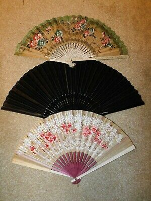 Three Old Paper & Wood Floral Hand Fans