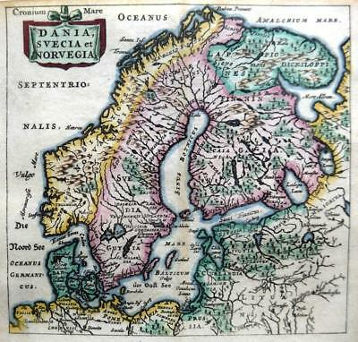 DENMARK SWEDEN NORWAY BY CLUVER / BERTIUS c1661 GENUINE 350 YEAR OLD ANTIQUE MAP