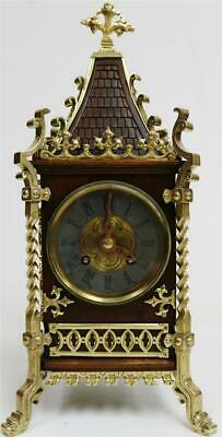 Sublime Antique French 8 Day Mahogany & Bronze Mounted Cathedral Mantel Clock