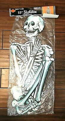 "NOS Vintage Beistle 55"" Jointed LIFE-SIZE SKELETON Halloween Decoration, 1989"