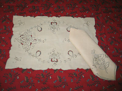 Antique VTG 14 pc set Madeira Hand Embroidery 6 Napkins~8 Placemats~UNUSED-Label