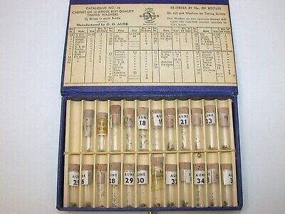 Aune Assortment of 24 Vials of Pocket Watch timing Washers. 60A