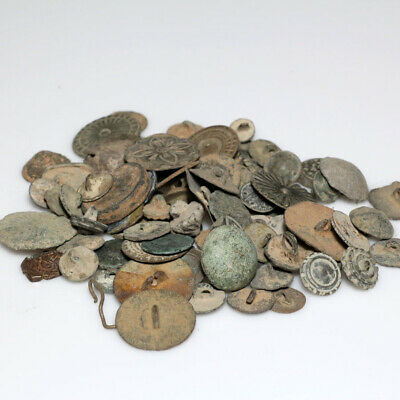 Huge Lot European Medieval Bronze Buttons 1400 Ad To 1800-Uncounted