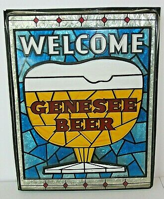 Vintage GENESEE BEER WELCOME SIGN Plastic Stained Glass look, Bar Man Cave 14x18