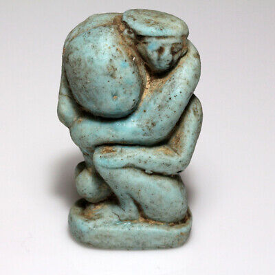 Intact Egyptian Blue Faience Statue Circa 1900-900 Bc