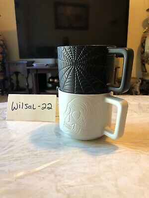 Starbucks Halloween 2019 Skull Spiderweb Set Of 2 Coffee Mugs New 👻