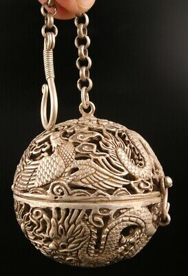 Unique Tibetan Silver Pendant Incense Ball Hollow Dragon Phoenix Old Gift