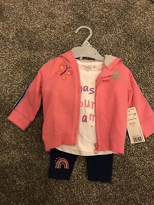 Baby Girls Tesco F&F Age 3 Months 3 Piece Outfit Jacket Leggings BNWT
