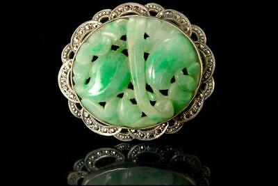 Old Chinese Carved Apple Grenn Jadeite Jade Silver Marcasite Pin Brooch D120-01