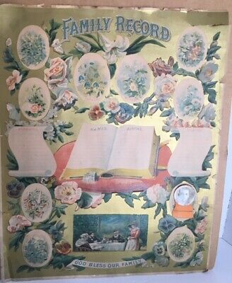 """Antique Family Record """"God Bless Our Family"""" 1800s"""