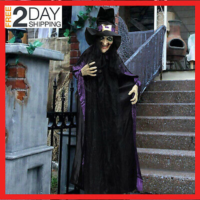 Animated Witch Led Eyes Spooky Sounds Life Size And Halloween Decoration Hanging