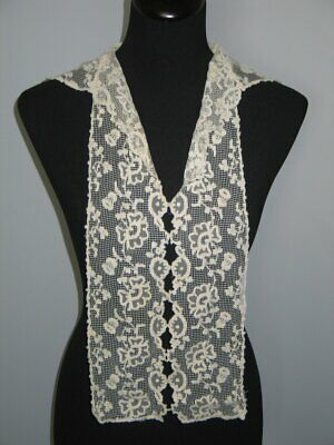 Antique Lace Collar- Dress Front  / Embroidered Net Valenciennes Lace / Collar