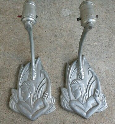 Unusual Art Deco Cast Aluminum Nymph Figural Wall Sconce Light Pair Vintage