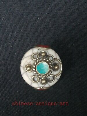 Collection Old Chinese Tibet Copper Inlay Turquoise Coral Conch Necklace Pendant