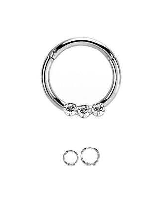 316L Surgical Steel Hinged Septum Clicker Daith Nose Ring Hoop 3 Stone 16G