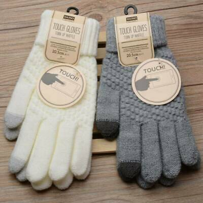 Women Men Wool Knitted Gloves Full Finger Warm Mittens Touch Screen Solid Color