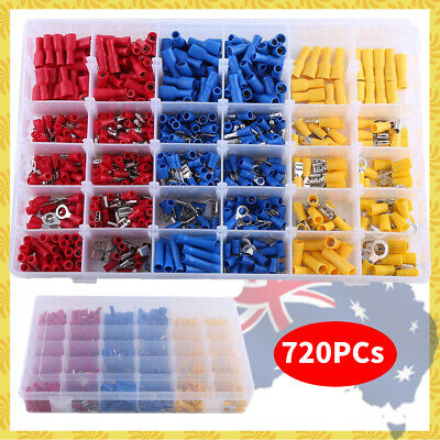 720 Electrical Wire Connector Assorted Insulated Crimp Terminals Spade kit f