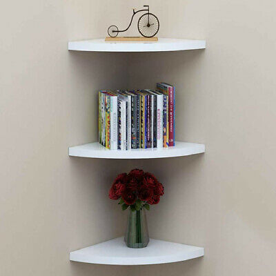 3Pcs Natural Wood Floating Corner Shelves Wall-Mounted Storage Rack Space-Saving