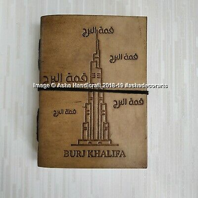 Indian Handmade Leather Diary Burj Khalifa Dubai Brown Journal Retro Note Book
