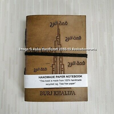 Handmade Cotton Paper Notebook, Leather Journal Sketchbook Burj Khalifa Diary