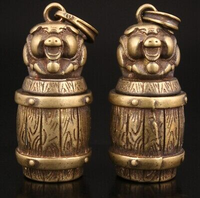 2 Retro Chinese Bronze Pendant Pig Box Mascot Decorated Gift