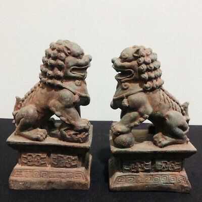 Antique China Foo Dog Statue Bronze Fu Dog Guardian Lion Pair 18th C Old Relic