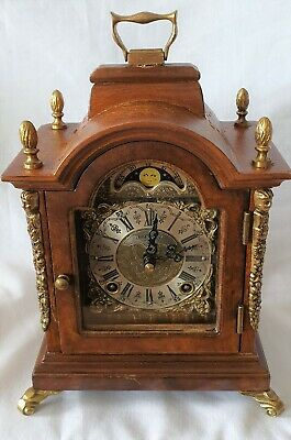 Warmink Mantel Clock Dutch 8 Day Double Bell, Rolling Moon Dial Silent Option