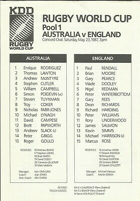 1987 RUGBY WORLD CUP - Australia-England Pool 1, original TEAMSHEET!