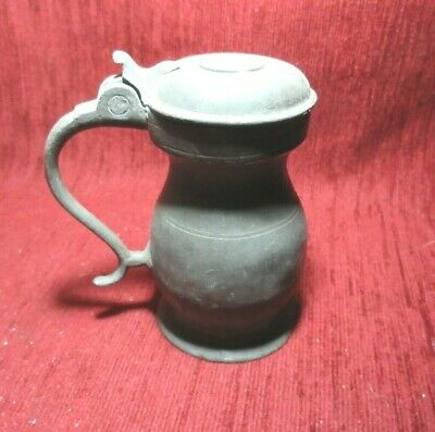 Antique Victorian Pewter Lidded Tankard Measure 1 Gill Imperial Standard